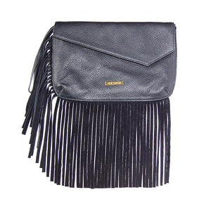 Front View Of The Black Leather Fringed Bag
