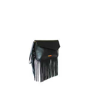 Angled View Of The Black Leather Fringed Bag