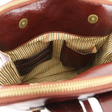 Internal Pockets View Of The Brown Leather Backpack For Men