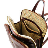 Internal Zip Pocket View Of The Brown Leather Backpack For Men