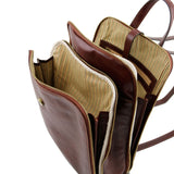 Internal Angled View Of The Brown Leather Backpack For Men