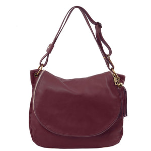 Front View Of The Bordeaux Tassel Crossbody Bag