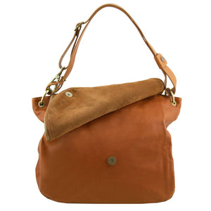 Front Flap Opening View Of The Cognac Tassel Crossbody Bag