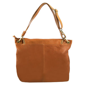 Rear View Of The Cognac Tassel Crossbody Bag