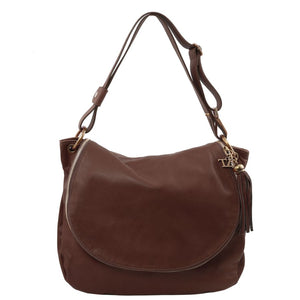 Front View Of The Dark Brown Tassel Crossbody Bag