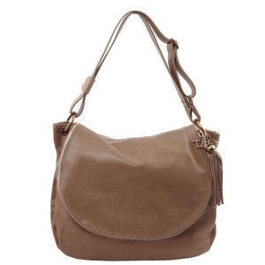 Front View Of The Dark Taupe Tassel Crossbody Bag