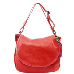 Front View Of The Lipstick Red Tassel Crossbody Bag