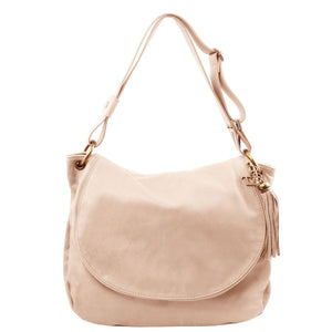 Front View Of The Nude Tassel Crossbody Bag