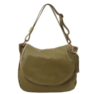 Front View Of The Olive Green Tassel Crossbody Bag