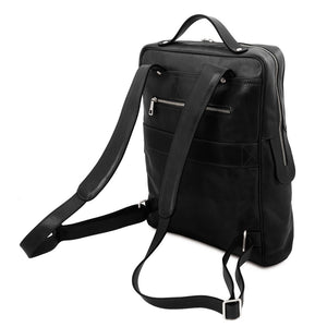 Rear And Shoulder Straps View Of The Black Leather Backpack Laptop Bag