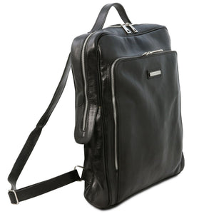 Angled View Of The Black Leather Backpack Laptop Bag