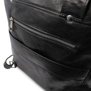 Rear Features View Of The Black Leather Backpack Laptop Bag