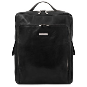 Front View Of The Black Leather Backpack Laptop Bag