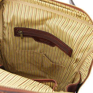 Internal Zipper Pocket View Of The Brown Leather Backpack Laptop Bag