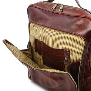 Front Compartment View Of The Brown Leather Backpack Laptop Bag