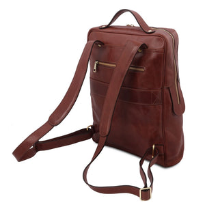 Rear And Shoulder Straps View Of The Brown Leather Backpack Laptop Bag