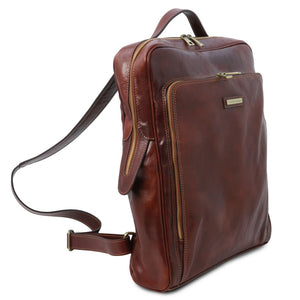 Angled View Of The Brown Leather Backpack Laptop Bag