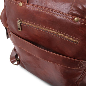 Rear Features View Of The Brown Leather Backpack Laptop Bag