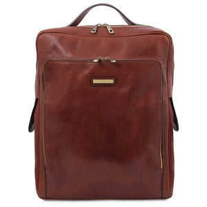 Front View Of The Brown Leather Backpack Laptop Bag