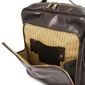 Front Compartment View Of The Dark Brown Leather Backpack Laptop Bag