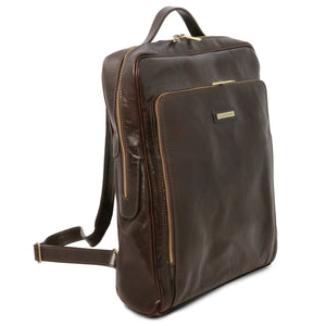 Angled View Of The Dark Brown Leather Backpack Laptop Bag