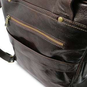 Rear Features View Of The Dark Brown Leather Backpack Laptop Bag