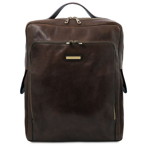 Front View Of The Dark Brown Leather Backpack Laptop Bag