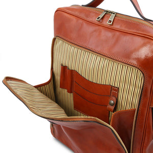 Front Compartment View Of The Honey Leather Backpack Laptop Bag