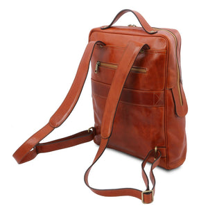 Rear And Shoulder Straps View Of The Honey Leather Backpack Laptop Bag