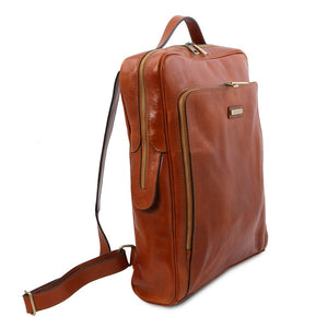 Angled View Of The Honey Leather Backpack Laptop Bag