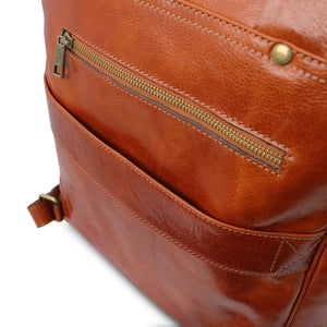 Rear Features View Of The Honey Leather Backpack Laptop Bag