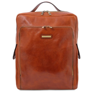Front View Of The Honey Leather Backpack Laptop Bag