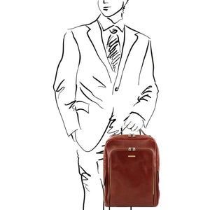 Sketch Of Man Posing With The Brown Bangkok Leather Laptop Backpack