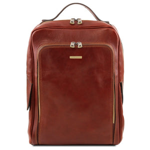 Front View Of The Brown Bangkok Leather Laptop Backpack