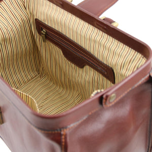 Internal Zip Pocket View Of The Brown Doctors Bag