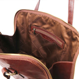 Internal Zip Pocket View Of The Brown Women's Business Bag