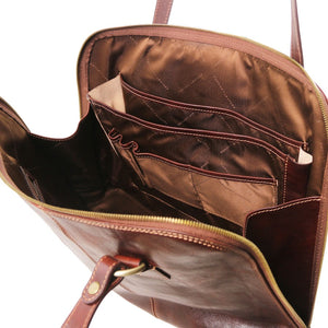 Internal Compartments And Pockets View Of The Brown Women's Business Bag