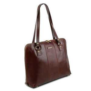 Angled View Of The Brown Women's Business Bag