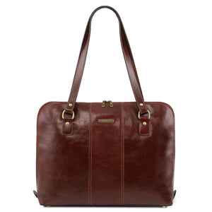 Front View Of The Brown Women's Business Bag