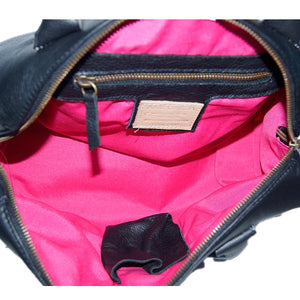 Internal Zip Pocket View Of The Black Womens Leather Duffel Bag