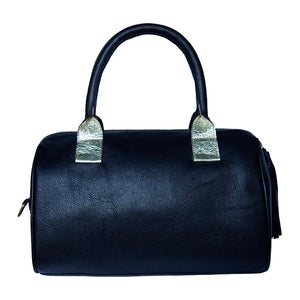 Rear View Of The Black Womens Leather Duffel Bag