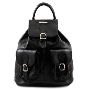 Front View Of The Black Travel Backpack