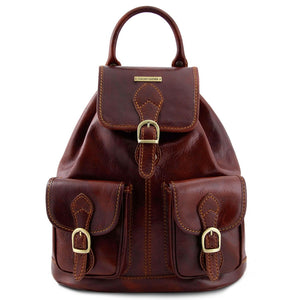 Front View Of The Brown Travel Backpack