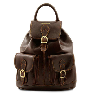 Front View Of The Dark Brown Travel Backpack