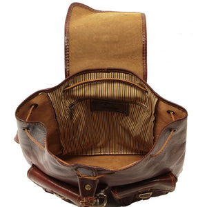 Internal View Of The Brown Travel Backpack