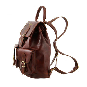 Side View Of The Brown Travel Backpack