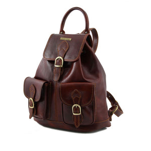 Angled View Of The Brown Travel Backpack