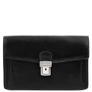 Front View Of The Black Leather Wrist Bag