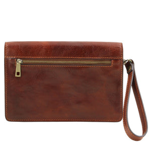 Rear View Of The Brown Leather Wrist Bag