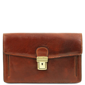 Front View Of The Brown Leather Wrist Bag